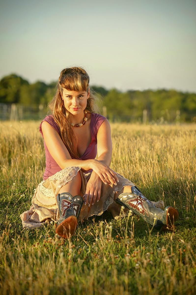 Field, cowboy boots, young woman, sun dress, western, hair, Farm