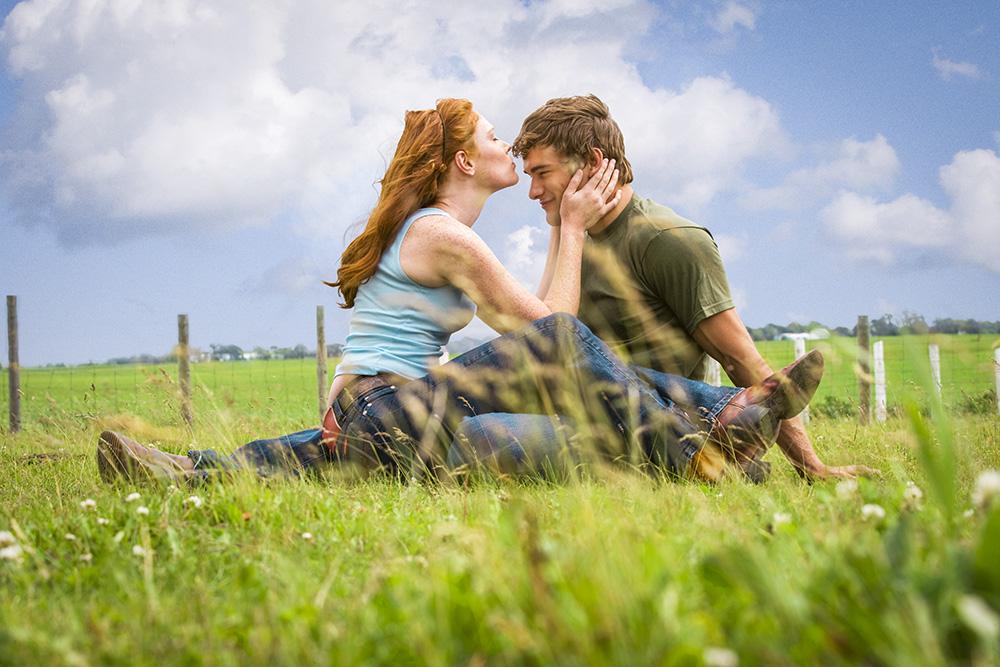 Farm Boy, Farm Girl, Field, Kiss, Kissing, Cute, Couple, Sky, Red Head, Young Couple, Fence