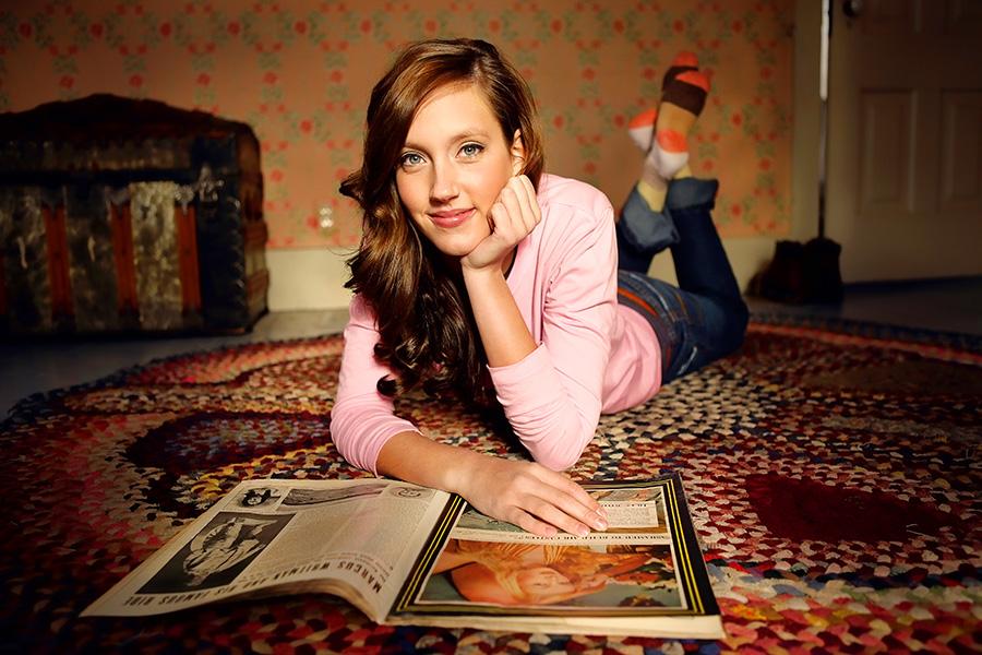 Farm Boy Farm Girl, Young woman, lying on floor, rug, vintage magazine, brown hair, stocking feet, farm house,