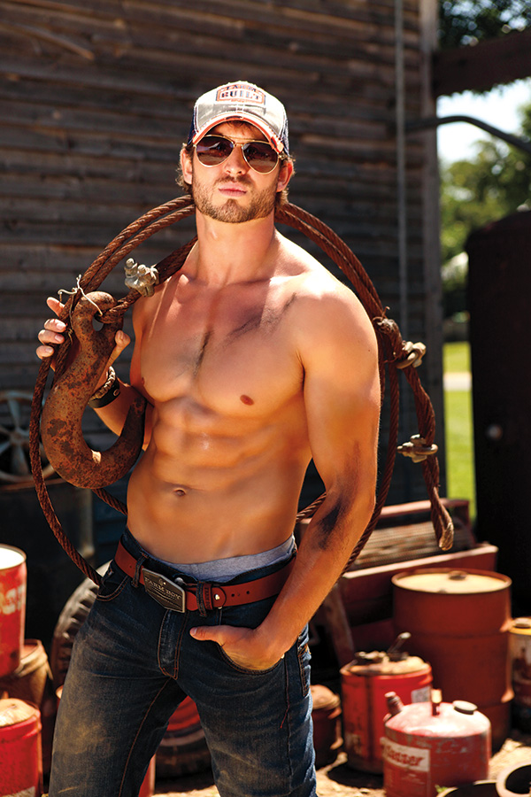 Farm Boy, Wire, Hook, hat, Bare chest, sun tan, Gas cans, Sun glasses