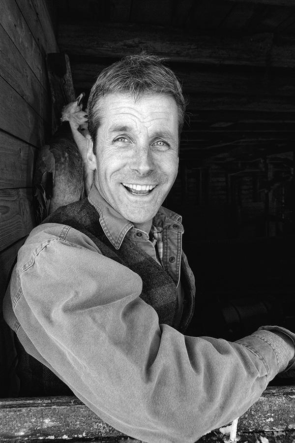 Farm Hand, Worker, Filson Vest, Minnesota, Old barn, Smile, Black and White