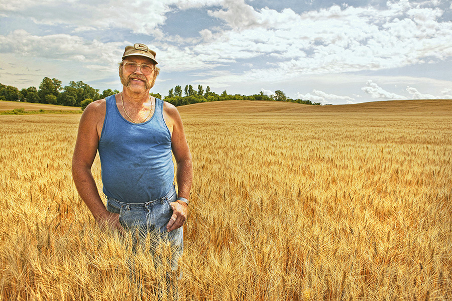 Wheat farmer, Alexandria, MN, Field, Crops, Minnesota, Mustache, hat, Sun glasses, retro,