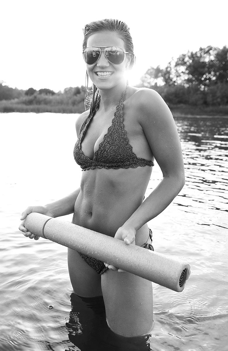 Sunglasses, Lake, Smile, Black and white, Premier Pontoons, Water Toy, Big Marine Lake, Minnesota, Bikini, Women, Wet