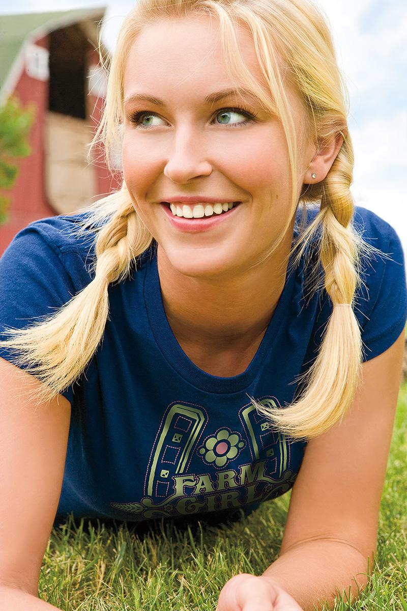 Farm Girl, Farm Boy, Blonde, Blue Eyes, Farm, Barn, Minnesota, Pig Tails, Grass