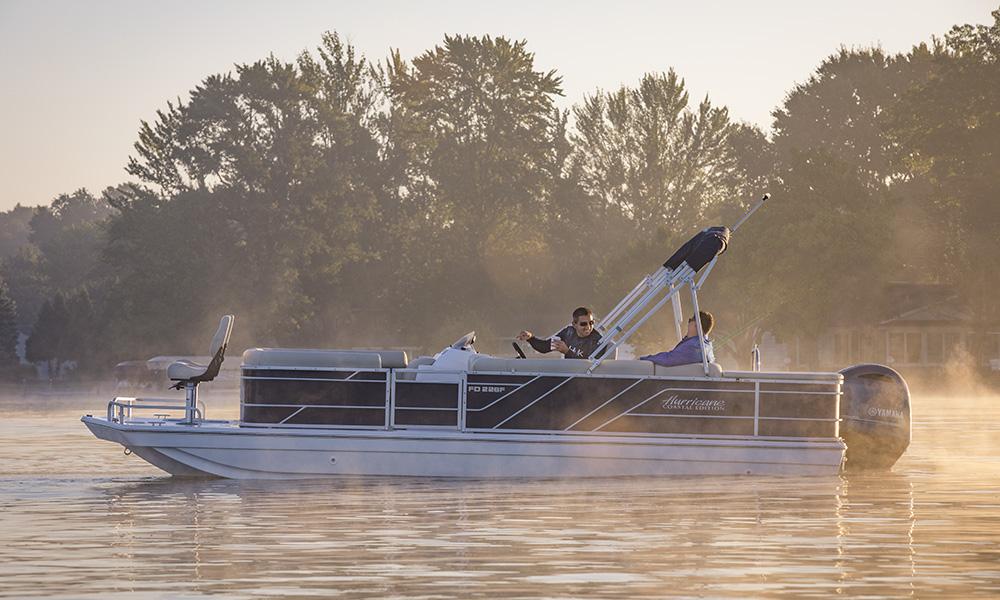Godfrey Marine, Hurricane Boats, Fun Deck, Coastal Edition, Yamaha Outboard Motor, Lake Wawasee, Indiana, Fishing, Fast boat, Two guys fishing,