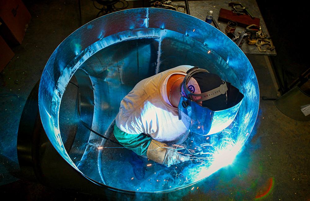 Welder, Sheet Metal, Flame, Sparks, Tunnel, SMC, Sheet Metal Connectors, Worker, Blue Collar