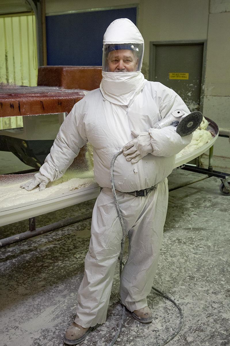 Larson Boat Company, Fiberglass, Portrait, Blue Collar, Worker, Hazardous Materials, Protection, Suit,