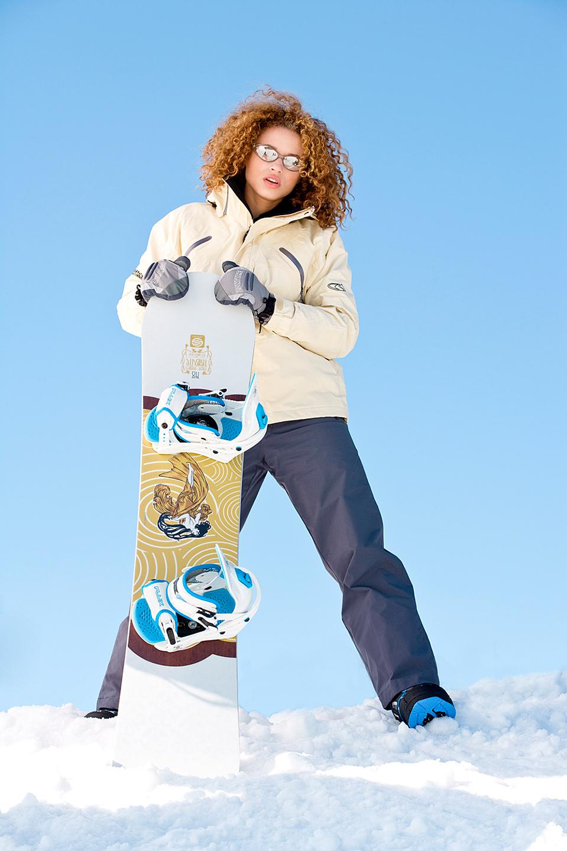 Snowboarder, snowboard, curly hair, winter jacket, ski hill, Highland Hills, Minnesota, Winter, Snow